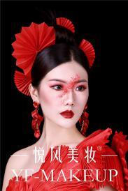 创意彩妆,中国红之纸扇系列